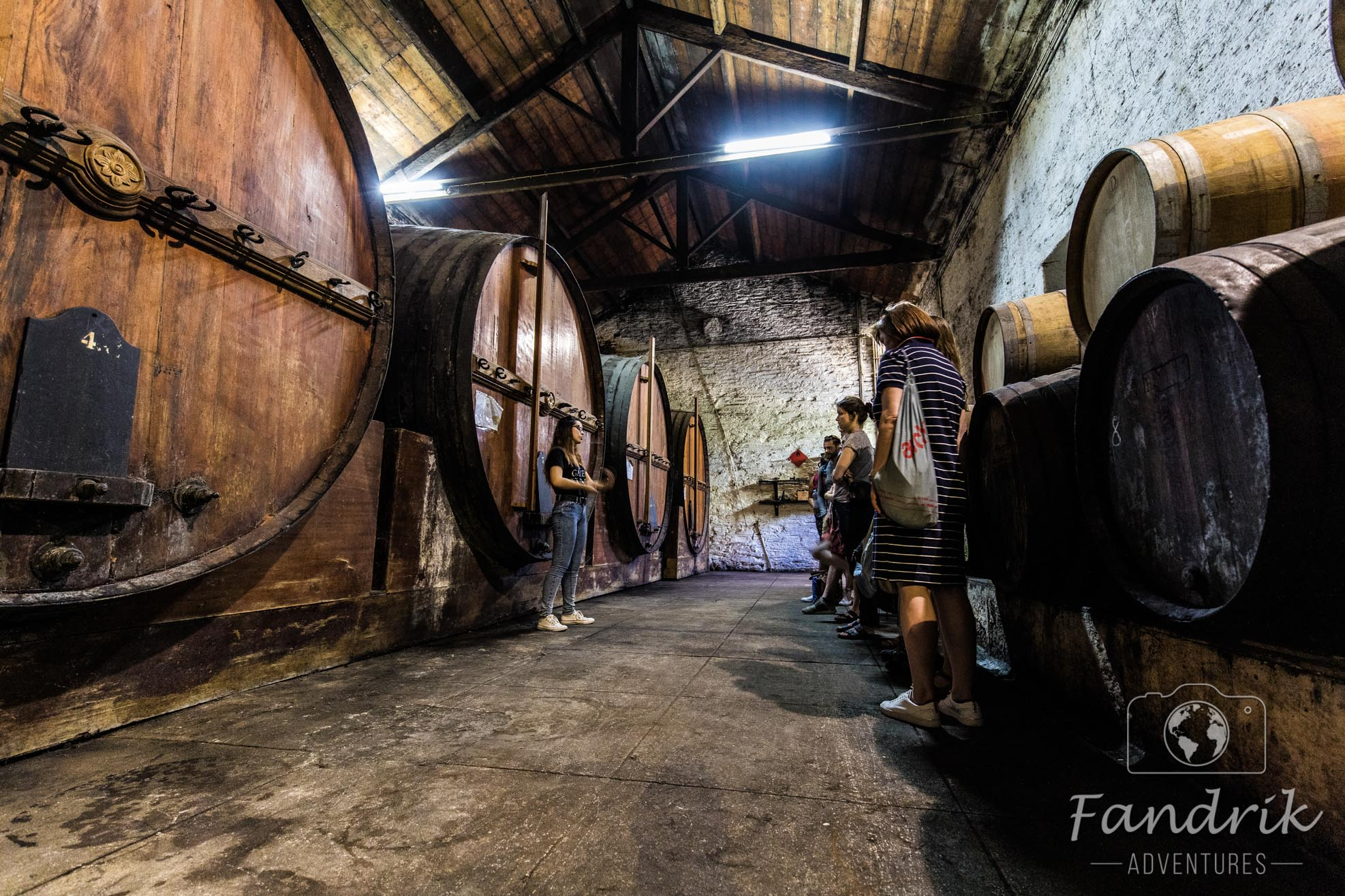 Old port wine barrels in a cellar of a winery in Portugal.
